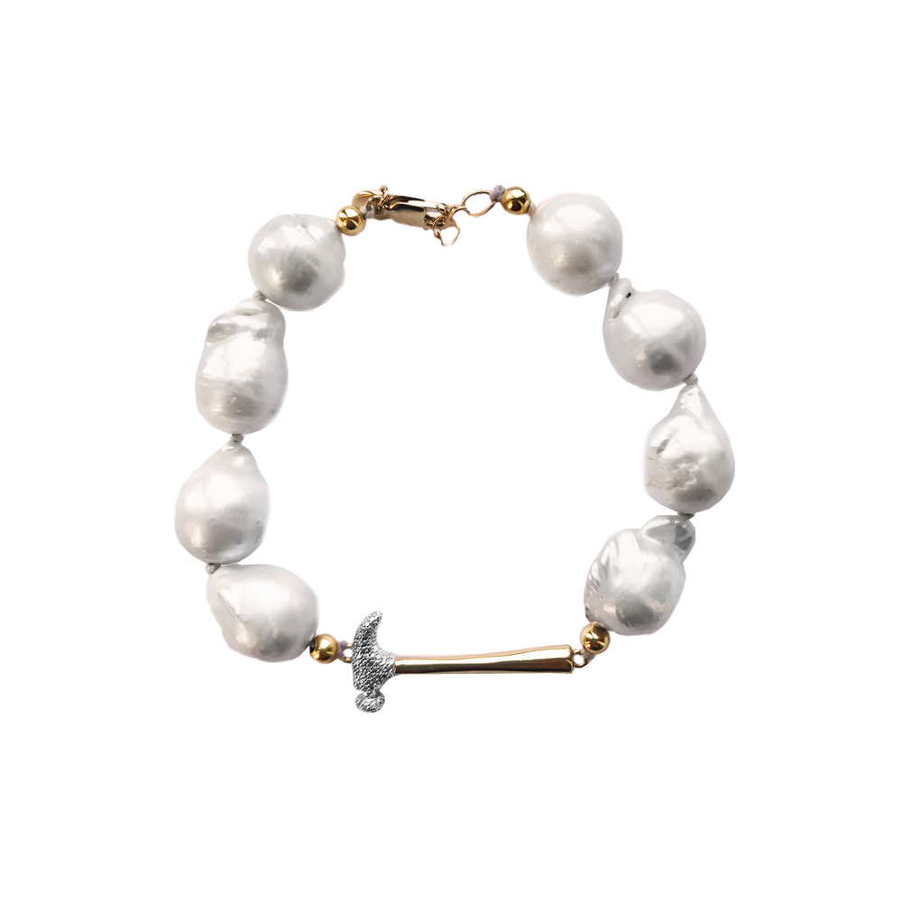 Baroque Pearl Hammer Home Your Message Bracelet