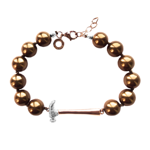 Brown Pearl Hammer Home Your Message Bracelet