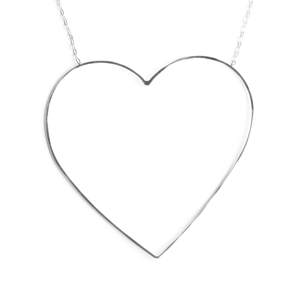 Silver Large Heart of Gold Necklace