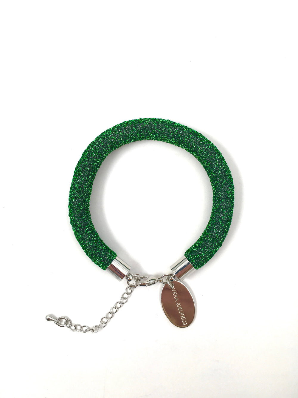 PULSERA SIMPLE verde lurex brillo