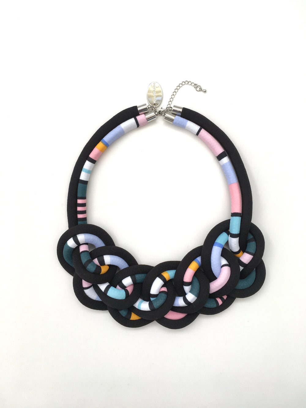 COLLAR CADENA DOBLE negro/rayas multicolor