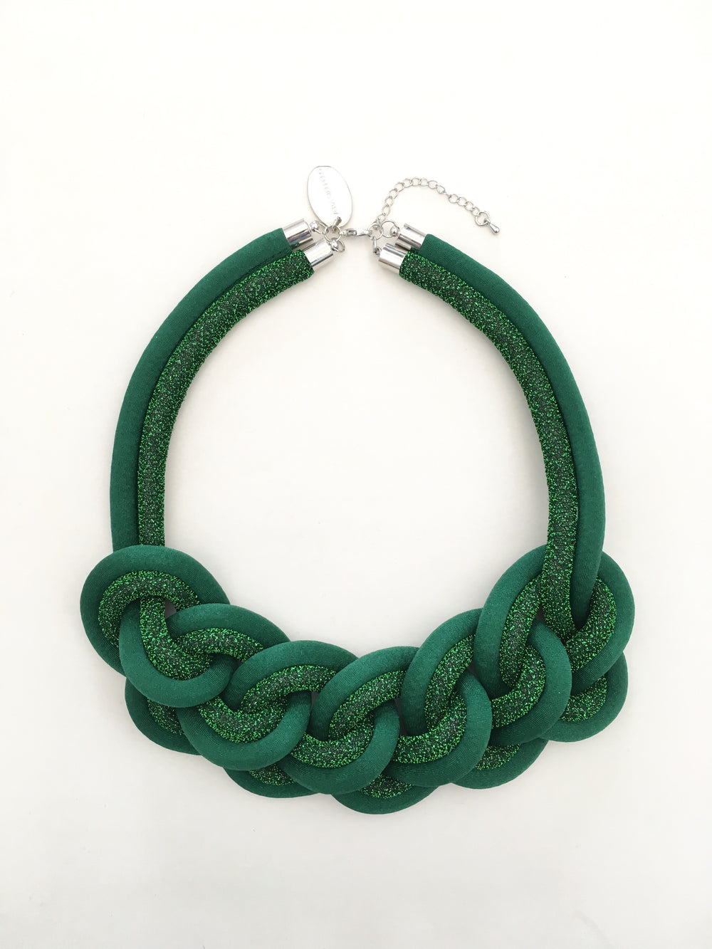 COLLAR CADENA DOBLE verde/verde lurex