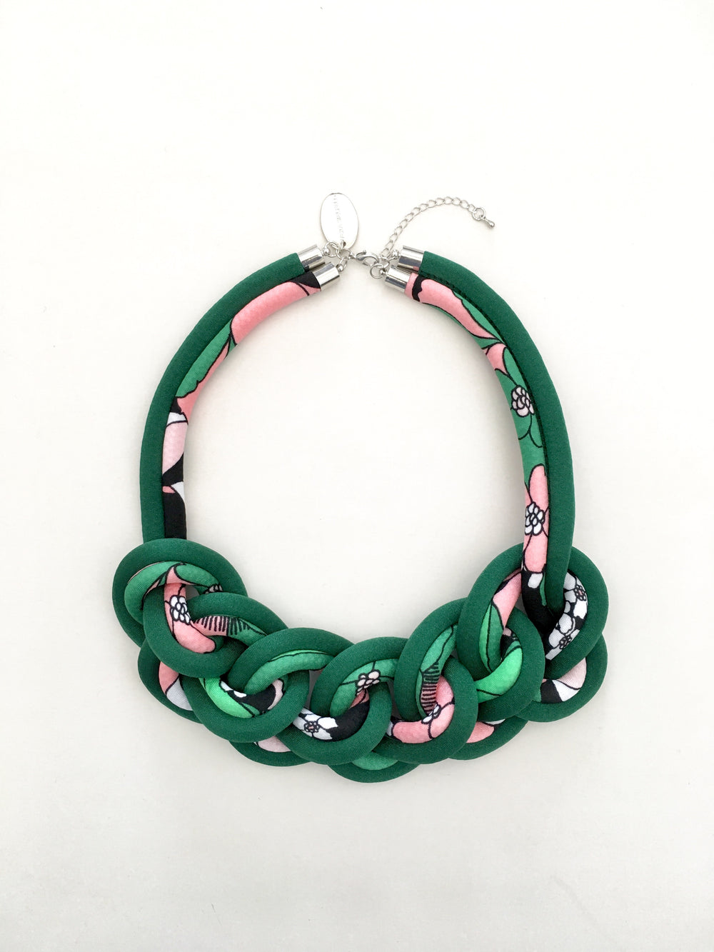 COLLAR CADENA DOBLE verde/mix rosado-verde