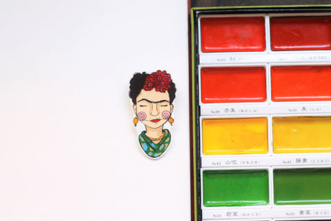 Frida brooch handmade by Annies Finger