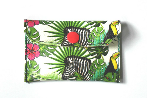 Coin purse with tropical print handmade by Cat & Cloud