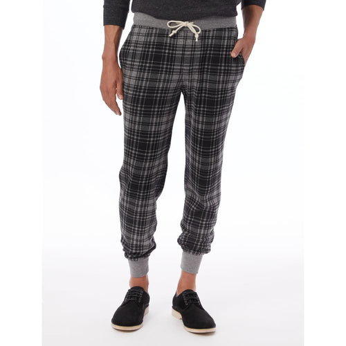 AA Dodgeball Pant Printed Eco-Fleece - Grey Cabin Plaid / Medium - Clothing