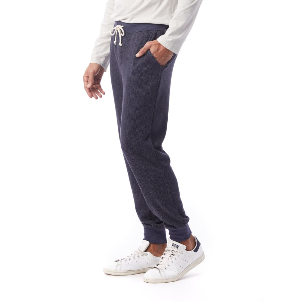 AA Dodgeball Pant Printed Eco-Fleece - Navy Herringbone / Medium - Clothing