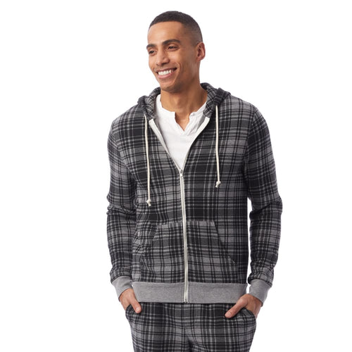 AA Eco-Fleece Zip Hoodie - Grey Cabin Plaid / Medium - Clothing