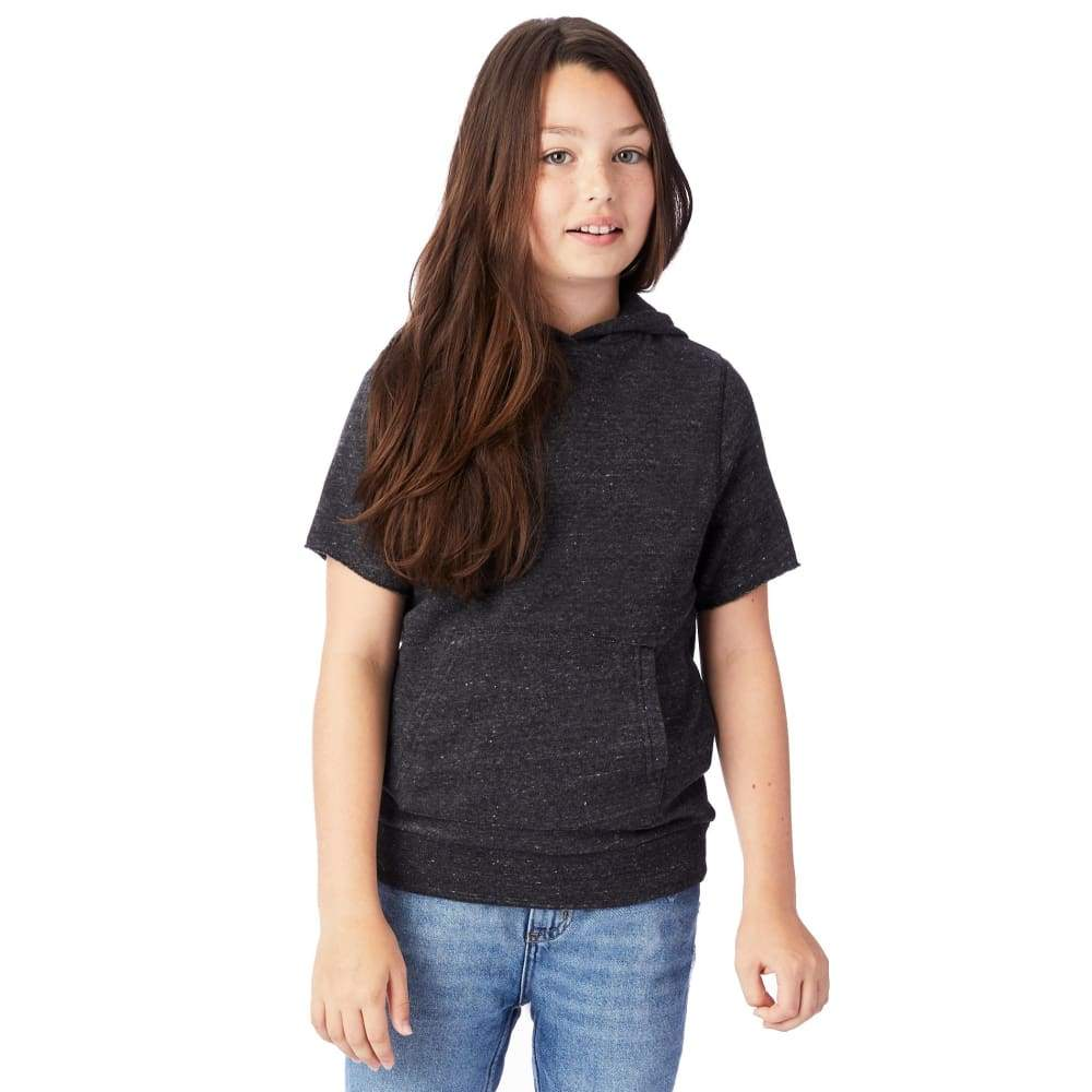 AA Pullover Short Sleeve Eco-Fleece Youth - Black / YTH X-Small - Clothing
