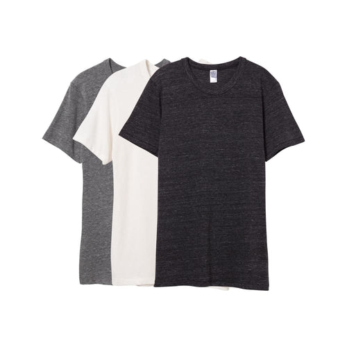 AA T-Shirt Crew Eco-Jersey (3 Pack) - Grey Black Ivory / X-Small - Clothing