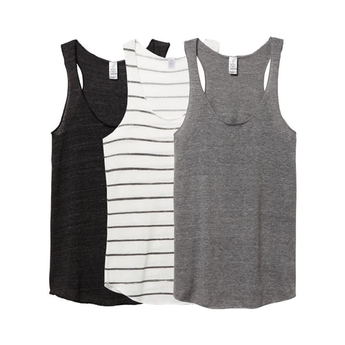 AA Tank Top Eco-Jersey (3 Pack) - Black Stripe Grey / X-Small - Clothing