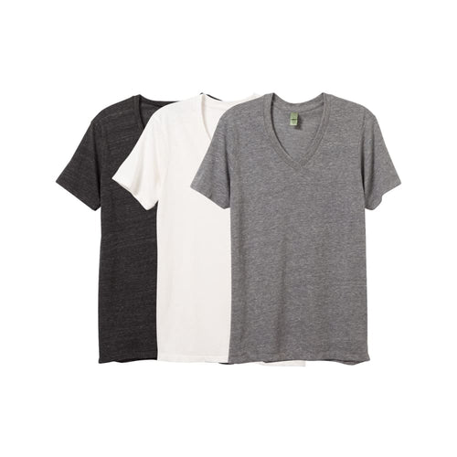 AA V-Neck Shirt Eco-Jersey (3 Pack) - Grey Black Ivory / X-Small - Clothing