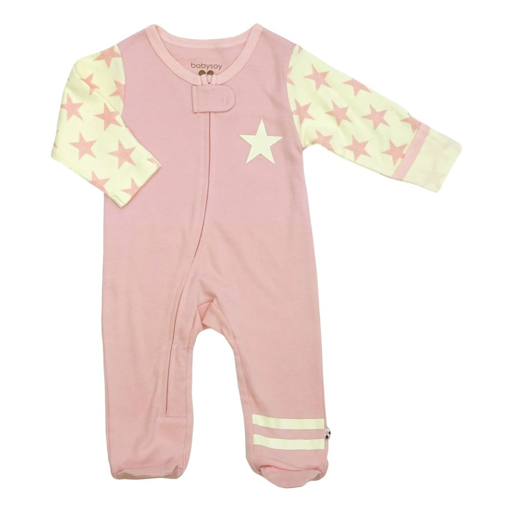 BSI All-Star Zipper Footie - Peony / 0-3 Mths - Clothing