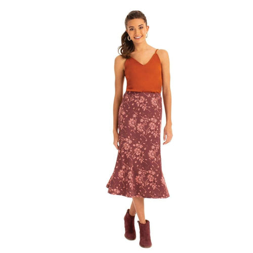 S Long Skirt Floral - Burgundy / X-Small - Clothing