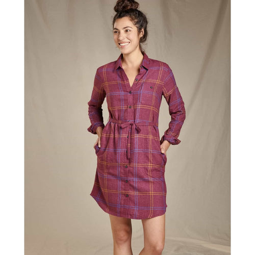 T&C Flannel Shirtdress Re-Form - Port / X-Small - Clothing