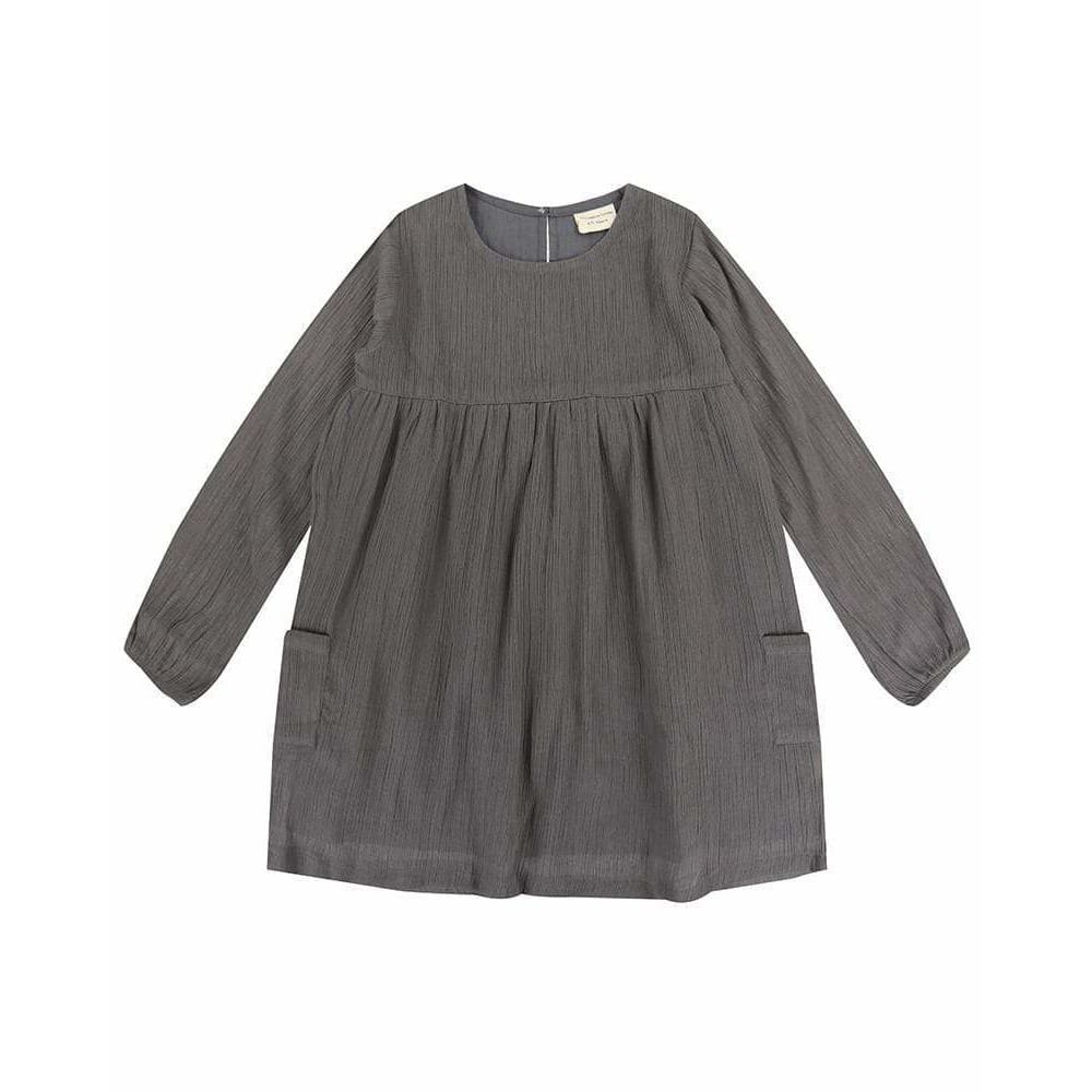 TL Cheesecloth Dress - Grey / 1-2 Years - Clothing
