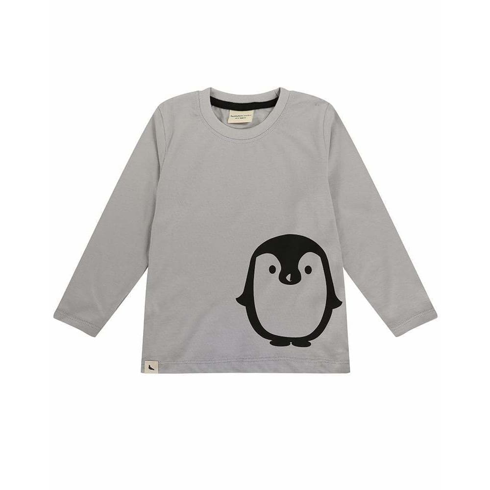TL Penguin Placement Top - Grey / 0-6 mths - Clothing