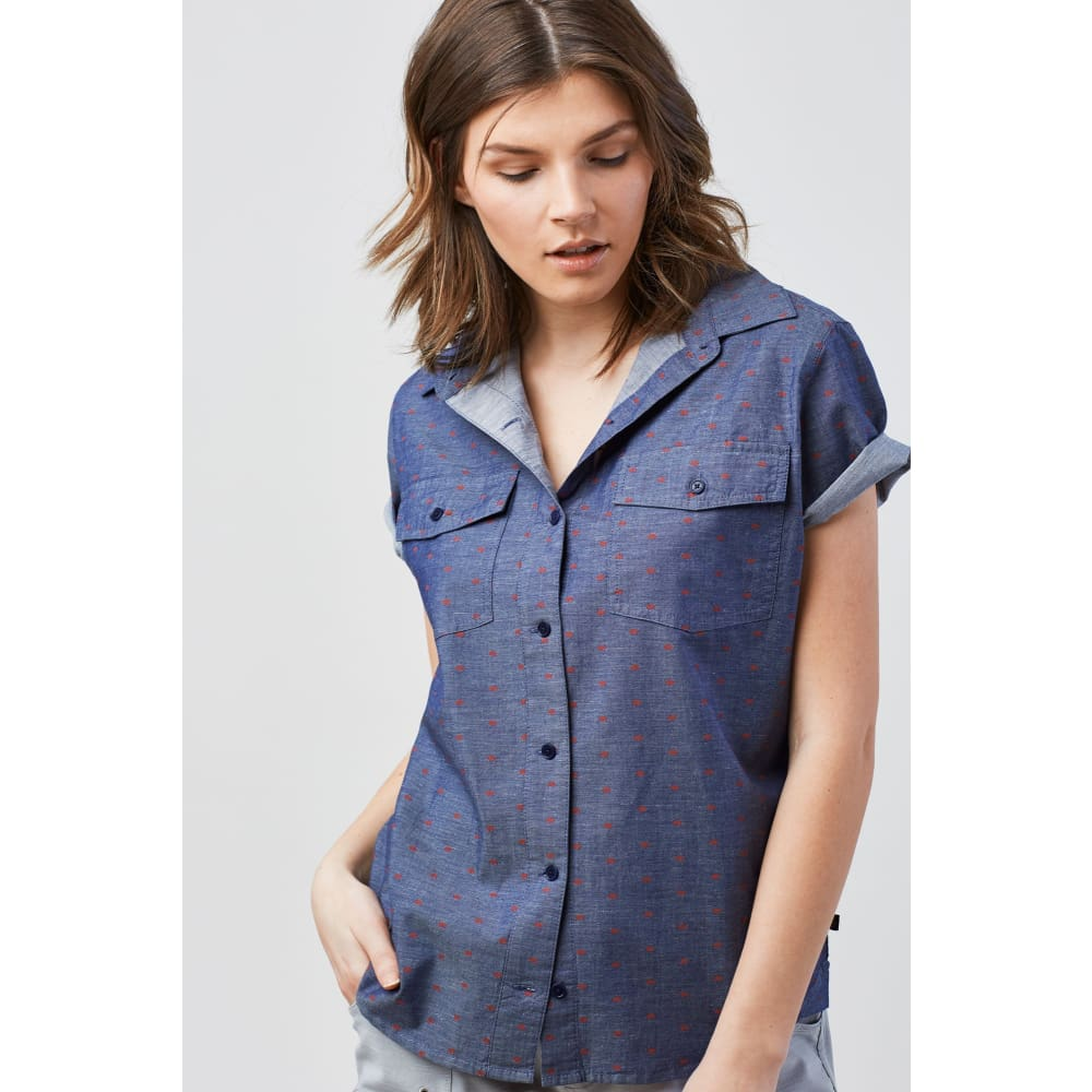 UB Highland Bison Button Down S/S Women - Navy / X-Small - Clothing
