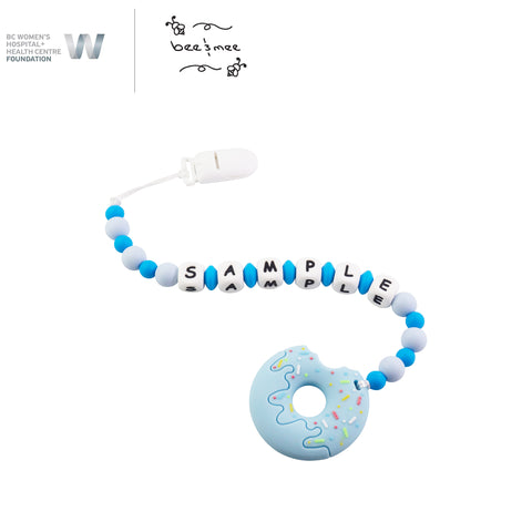 Personalized Baby Teething Toy (Blue with Blueberry Donut)