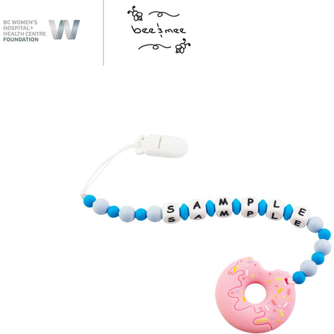 Personalized Baby Teething Toy (Blue with Strawberry Donut)