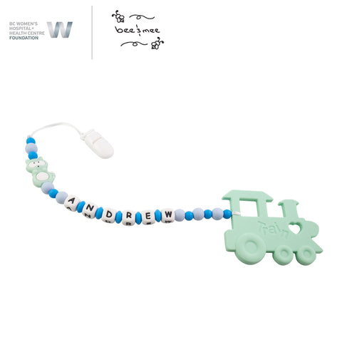 Personalized Baby Teething Toy (Blue with Raccoon and Train)