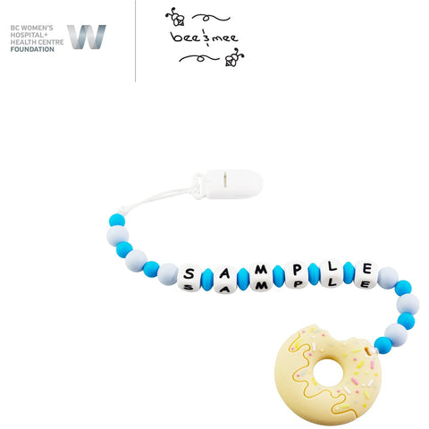 Personalized Baby Teething Toy (Blue with Honey Donut)