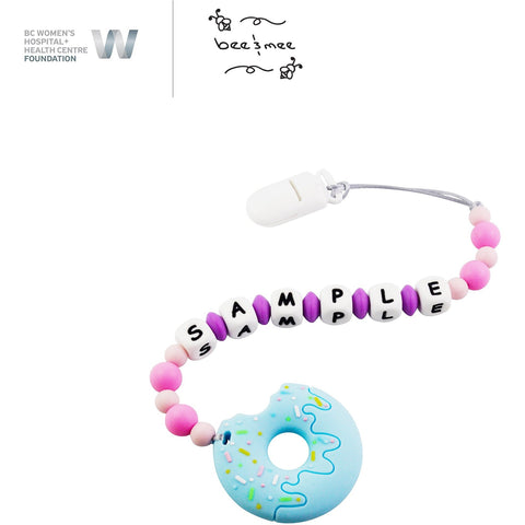 Personalized Baby Teething Toy (Pink with Blueberry Donut)