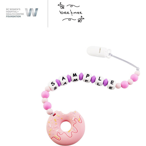 Personalized Baby Teething Toy (Pink with Strawberry Donut)