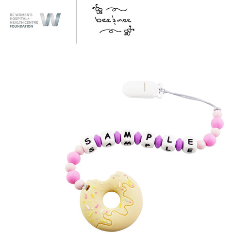 Personalized Baby Teething Toy (Pink with Honey Donut)