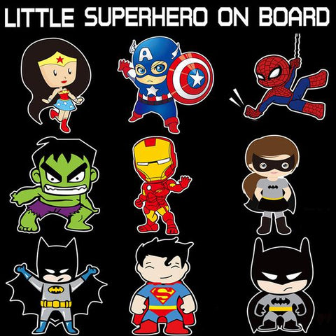 Little Superhero On Board - Car Decals (4 Superhero Options)