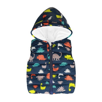 Puffy Dinosaur Vest With Hood (18M-6T)