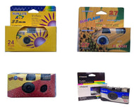 (4-Pack) Mixed Lot 35mm Film Disposable Cameras Flash 27 exp Vintage Retro Expired
