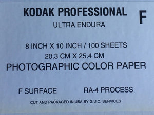 "(100 Sheets) Kodak Endura Photographic Paper Glossy 8x10"" RA-4 Processing Dark Room"