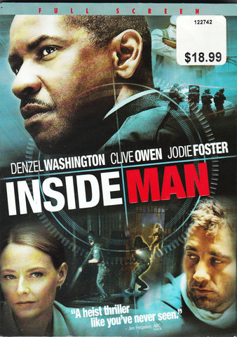 DVD. Inside Man starring Denzel Washington, Clive Owen and Jodie Foster