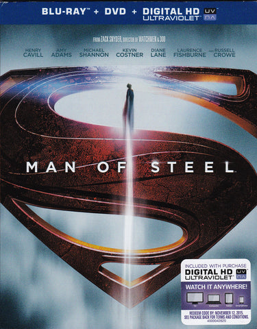 DVD. Man Of Steel starring Kevin Costner, Henry Cavill and Amy Adams