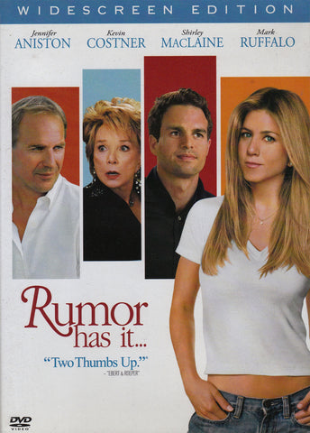 DVD. Rumor Has It staring Jennifer Aniston, Kevin Costner, Shirley MacLaine, and Mark Ruffalo