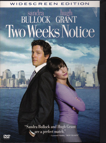 DVD. Two Weeks Notice. Starring Sandra Bullock  and Hugh Grant