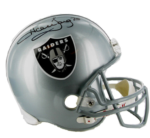 NFL Raiders Football Helmet, Full Size. autographed by #75 Howie Long