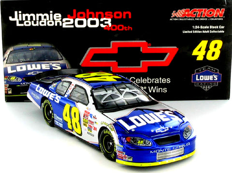 Jimmie Johnson #48 Lowe's / Chevy 400 Win 2003 Monte Carlo Nascar Diecast