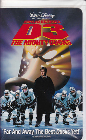 VHS. D3 The Mighty Ducks starring Emilio Estevez