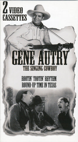 VHS. Gene Autry. 2 Films. Rootin' Tootin' Rhythm and Round-Up Time In Texas