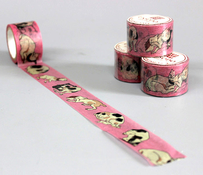 Ukiyoe Washi Tape: M-4 Cats (Kuniyoshi)