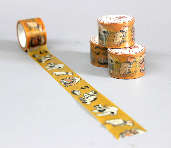 Ukiyoe Washi Tape: M-7 Cats (Hokusai)