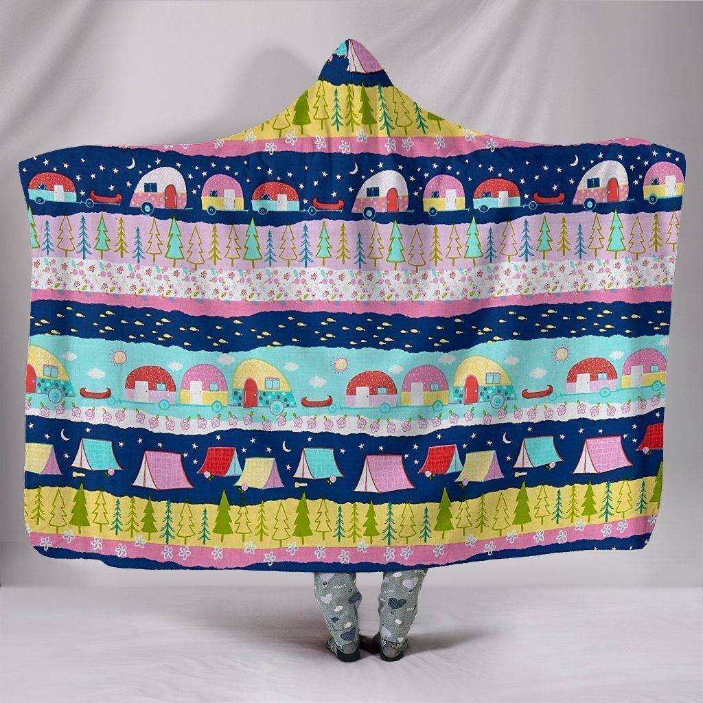 Large Happy Trails Hooded Blanket
