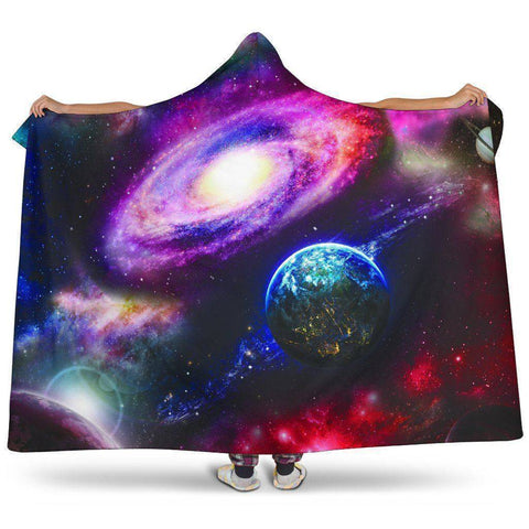 Large Cosmos Hooded Blanket