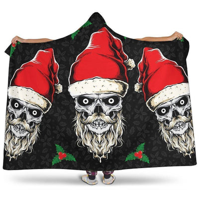 Evil Christmas Skull Santa Hooded Blanket