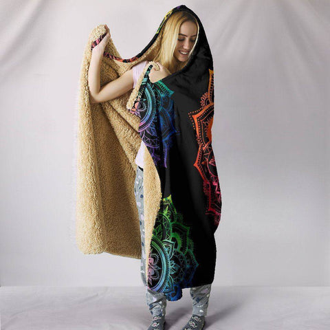 Large Chakra Mandala Hooded Blanket
