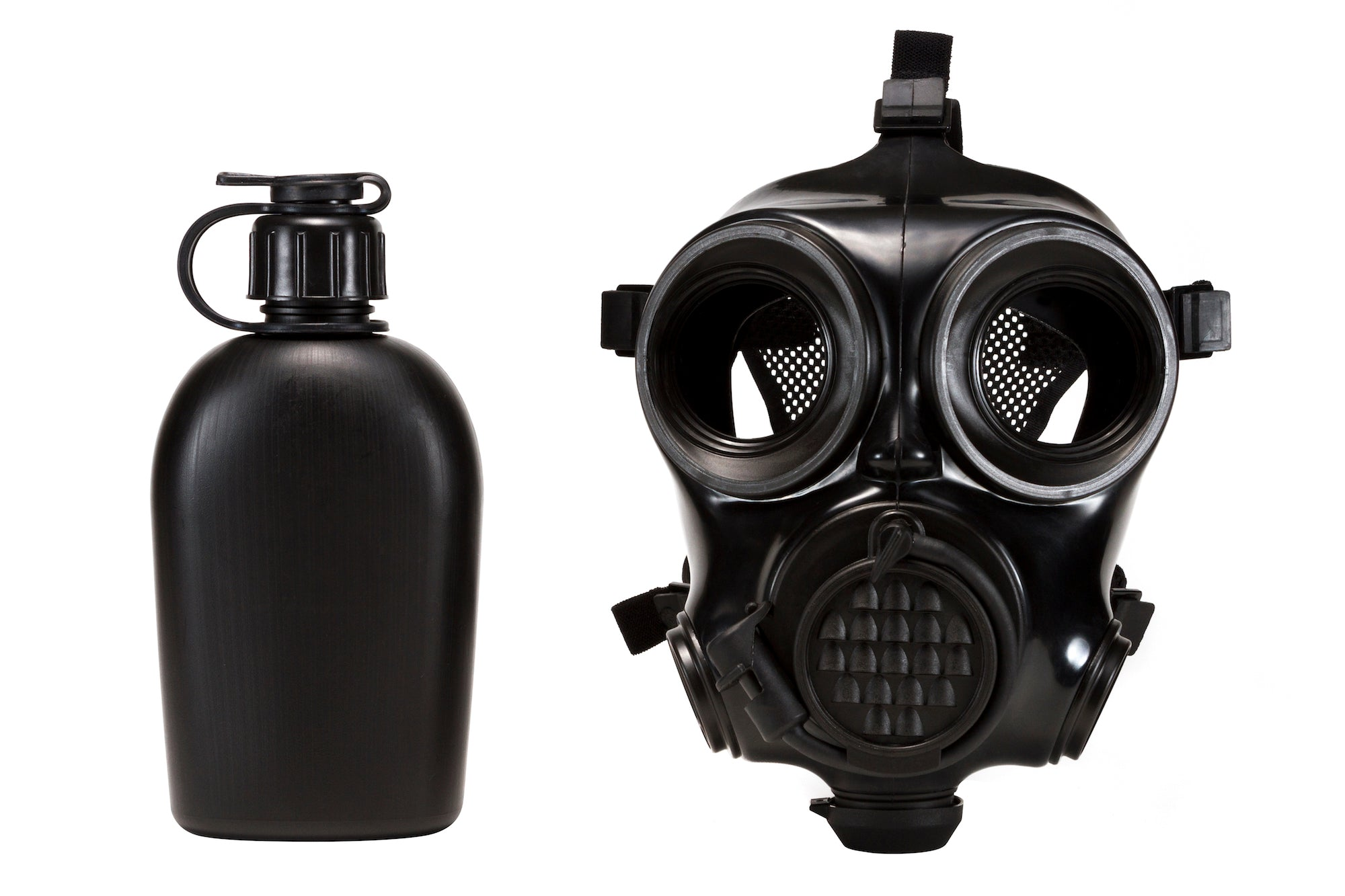 CM-7M Military Gas Mask with a canteen