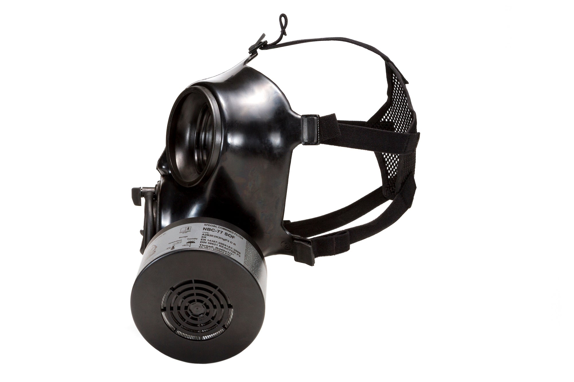 Side view of the CM-7M Military Gas Mask with a CBRN filter
