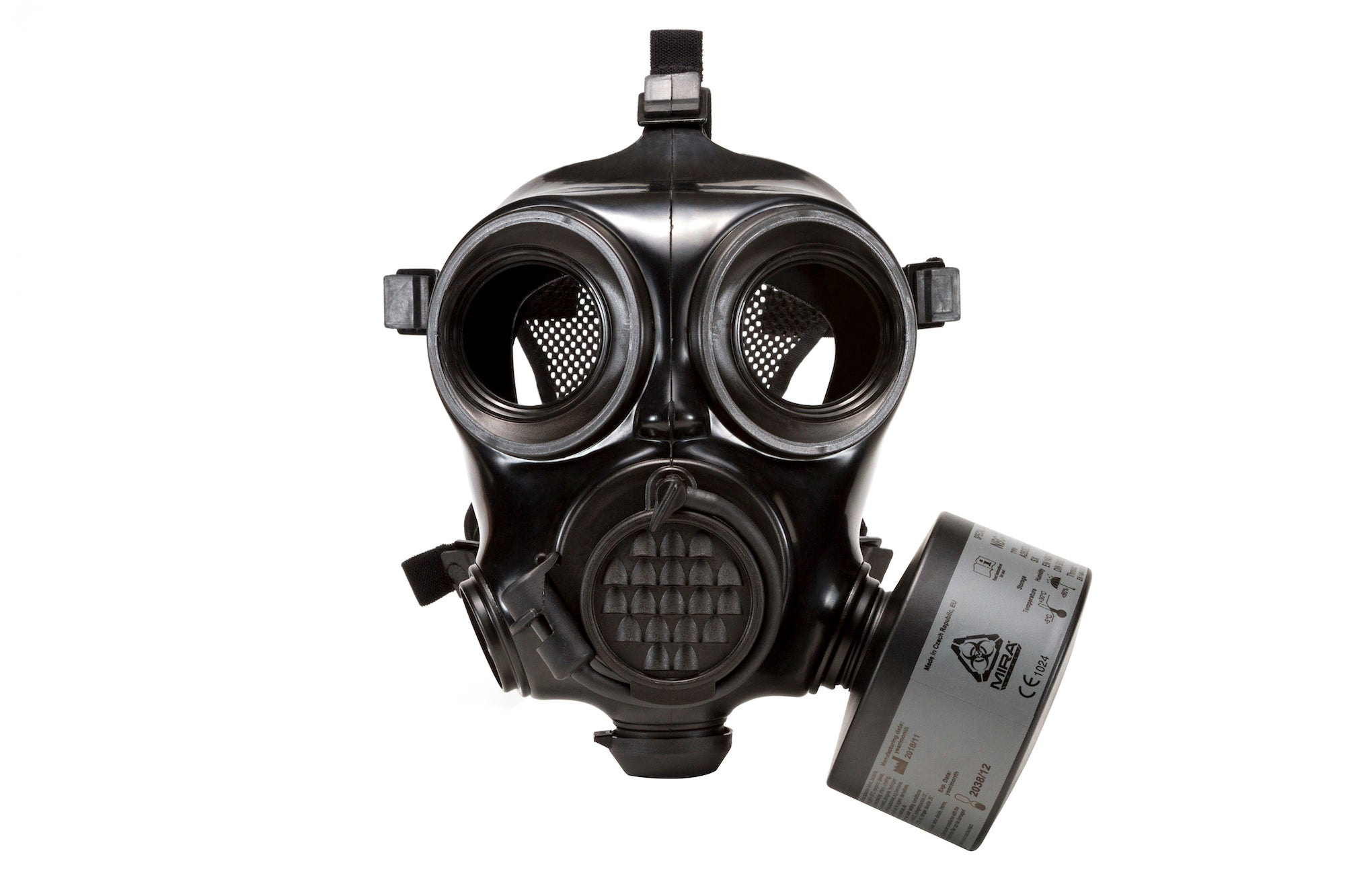 Front view of the CM-7M Military Gas Mask with CBRN filter